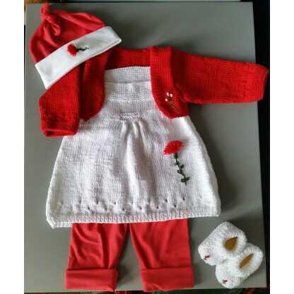 Zus en Zo Zelfgemaakt - Complete baby set met jurkje, vestje, legging, mutsje en slofjes -