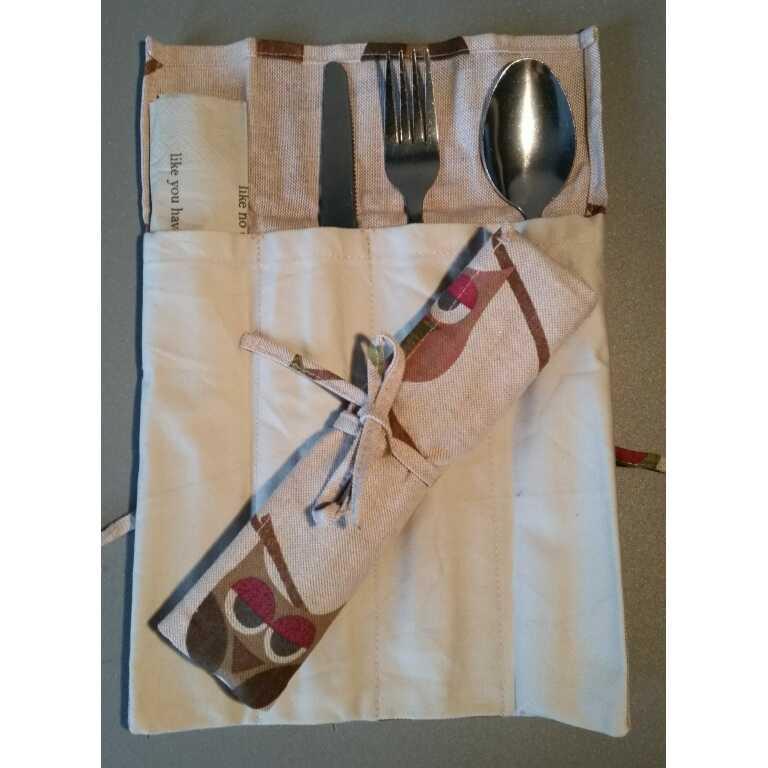Zus en Zo Zelfgemaakt - Bestekzakje met uilprint -
