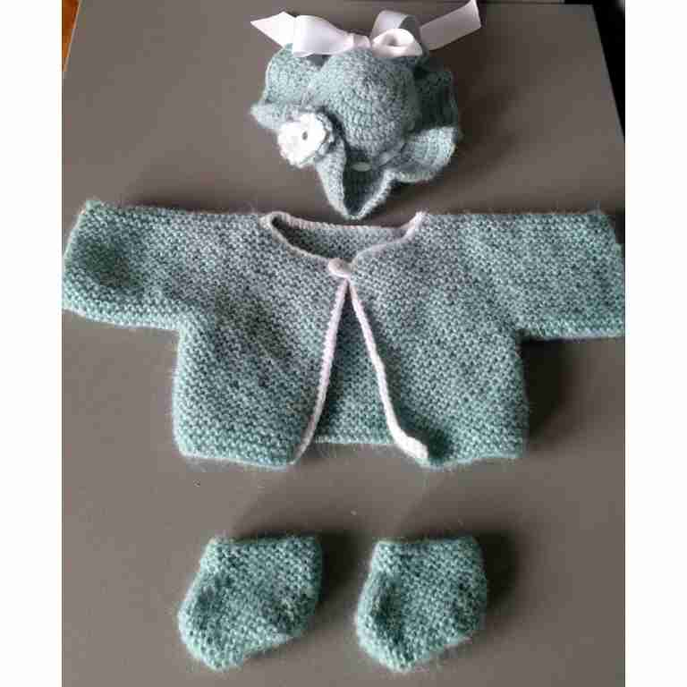 Zus en Zo Zelfgemaakt - Baby born: complete set jurk, jas, schoentjes, hoed -