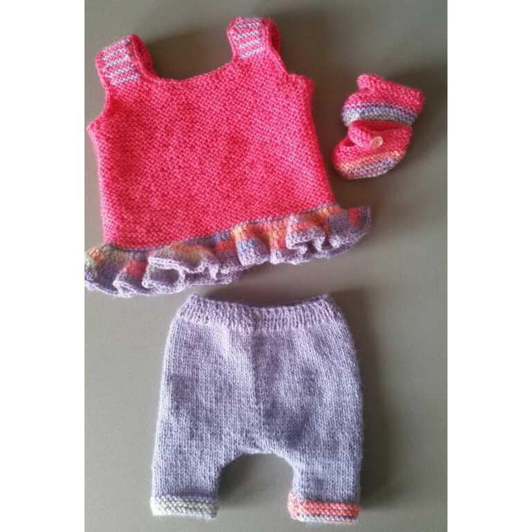 Zus en Zo Zelfgemaakt - Baby born kleertjes: zomerse set tuniek, broekje, schoentjes -